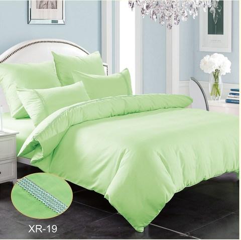 1.5-Спальное однотонное постельное светло-зеленое