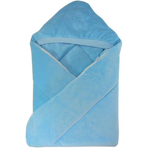 Папитто. Конверт-одеяло велюр с вышивкой, голубой