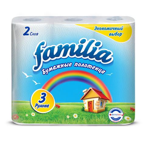Полотенца бумажные Familia Радуга двухслойные (3 рулона по 9.6 метра)
