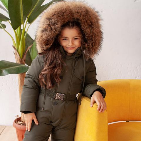 Детский зимний комбинезон с натуральной опушкой