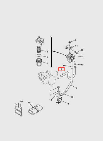 Шланг топливный L180 для лодочного мотора T15, OTH 9,9 SEA-PRO (6-9)