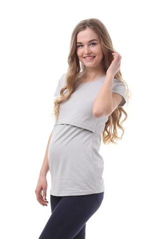 Футболка для беременных и кормящих 09962 серый
