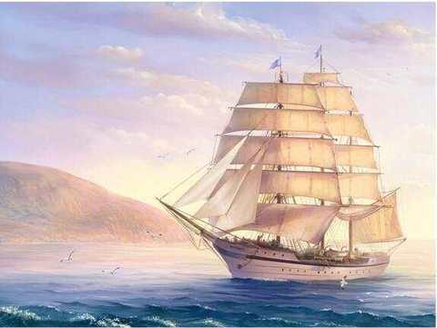 Алмазная Мозаика 40x50 Чайки у корабля с белыми парусами (арт. 2PAV746)