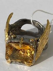 Шелли-цитрин(серебряное кольцо с позолотой)