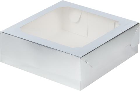 Коробка под зефир и печенье с окном, 20*20*7см, серебро