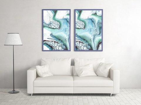 Картина в технике Fluid Art морской набор