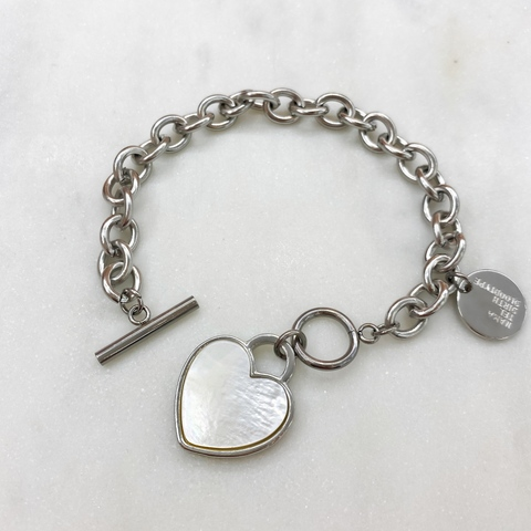 Браслет-цепь с сердечком, перламутр (серебристый)