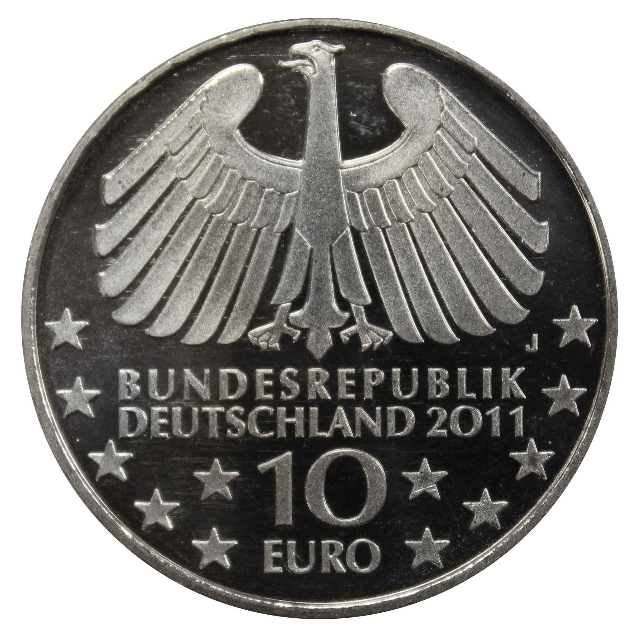 10 евро. 100 лет тоннелю в Гамбурге под Эльбой. 2011 год.