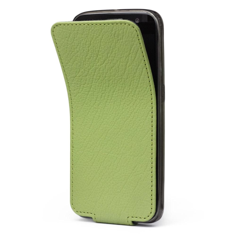 Чехол для Samsung Galaxy S6 из натуральной кожи теленка, цвета светлой оливы