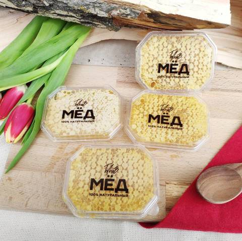Сотовый мёд в прозрачной упаковке 100 гр