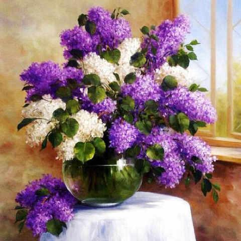 Алмазная Мозаика 50x65 Белая и фиолетовая сирень у окна