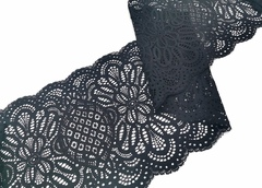Эластичное кружево, ОПТ, 22,5 см, черное, (Арт: EK-2241), м