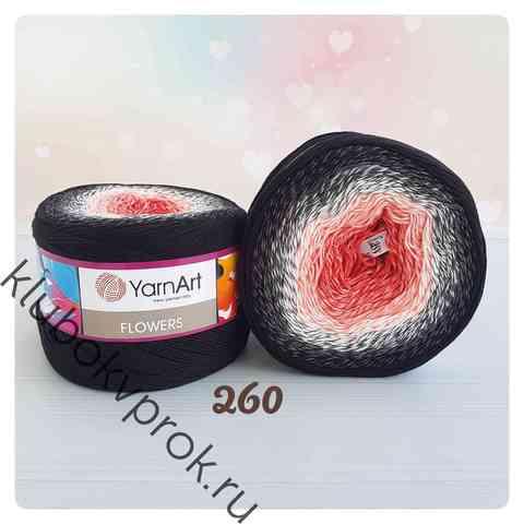 YARNART FLOWERS 260, Розовый/белый/черный