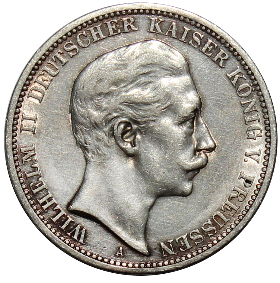 3 марки 1908 год. Вильгельм II. Германия. XF-
