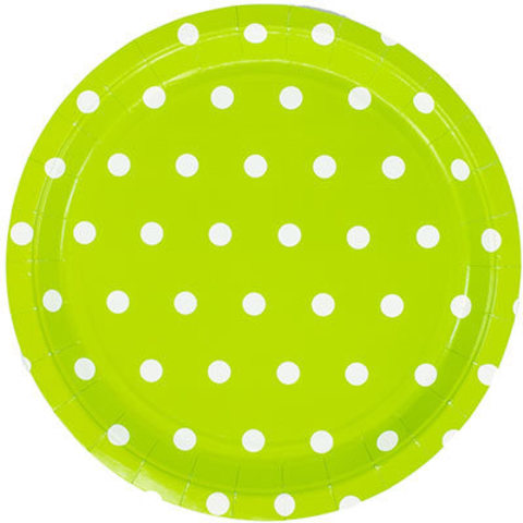 1502-3926 Тарелки большие Горошек салатовые, 23 см. 6 шт