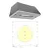 Мощный аварийный светодиодный светильник для высоких пролетов STAMINA Zone IP65 HIGHOUTPUT Teknoware с диаграммой светораспределения