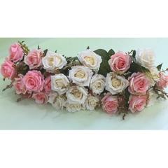 Розы искусственные евро двухцветные, букет 9 цветков, 7-8 см.
