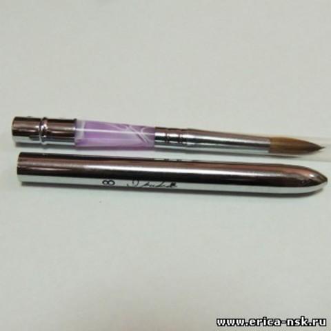 RuNail  Кисть для акрила Колонок со съемной ручкой в тубе №6