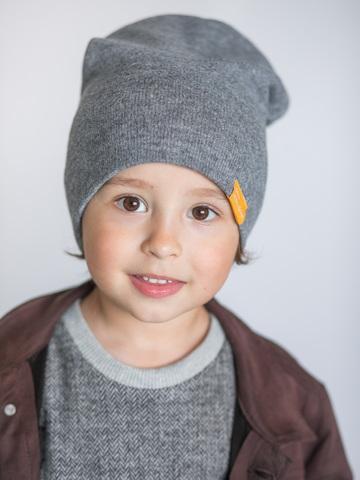 детская шапка из кашемира серая меланжевая