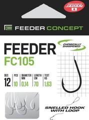 Крючки с поводком FC105 70 см, 0,18 мм, размер 8, упаковка 10 шт.