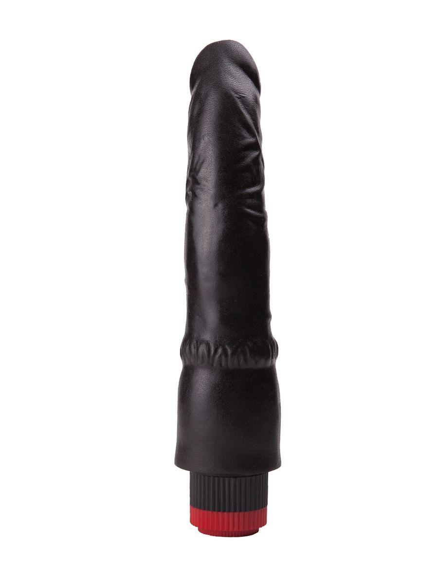Чёрный вибромассажер-реалистик - 19,3 см.
