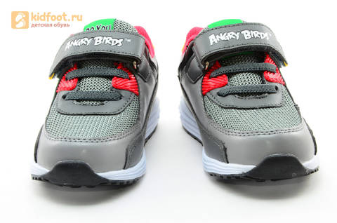 Светящиеся кроссовки для мальчиков Энгри Бердс (Angry Birds) на липучках, цвет темно серый, мигает картинка сбоку. Изображение 5 из 15.