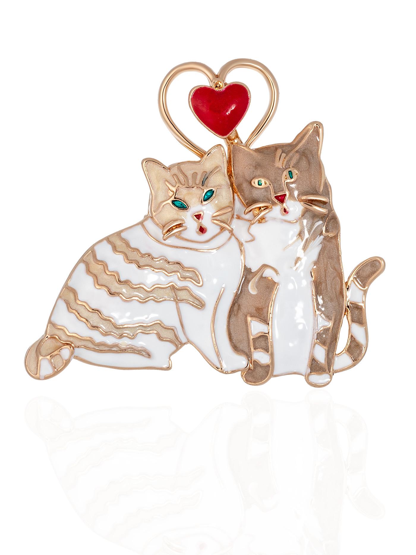 Брошь Коты в подарочной коробке, подарок девушке