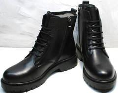 Кожаные женские ботинки демисезон Misss Roy 252-01 Black Leather.