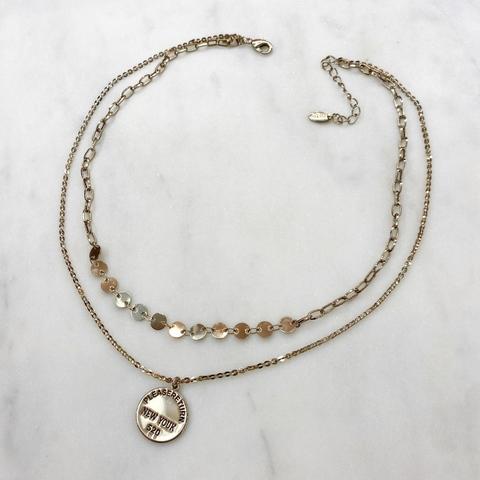 Колье двурядное из монист и цепочки с медальоном (брасс)