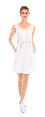 Фото белое хлопковое платье с кружевом и боковыми карманами - Платье З098-190 (1)