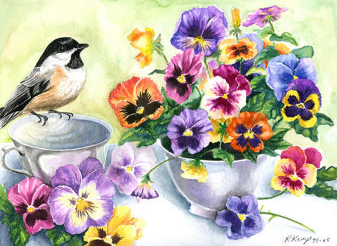 Картина раскраска по номерам 30x40 Птица на чашке у букета