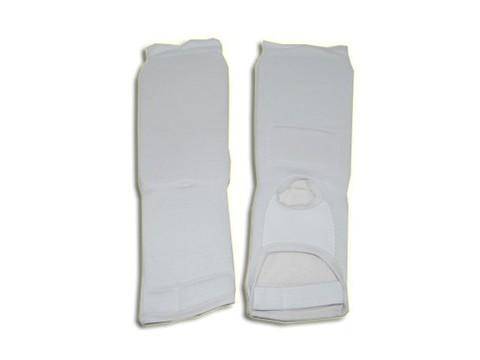 Защита ноги (для единоборств, от колена до пальцев, хлопок с эластиком , поролон, цвет белый, разм. M :(QG0401-M):