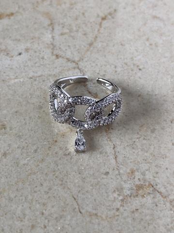 Кольцо Квин с цирконами, серебряный цвет