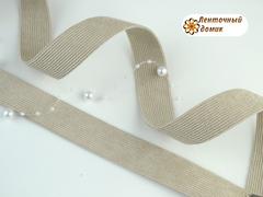 Лента вельвет двухсторонний бежевая 25 мм