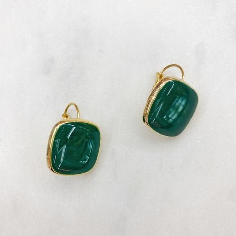Серьги Квадраты на петлях, эмаль (темно-зеленый)