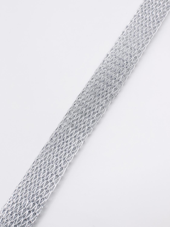 Браслет из металлизированной тесьмы, серый  оптом и в розницу