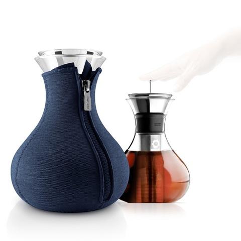 Чайник заварочный Tea maker в неопреновом текстурном чехле, 1 л, тёмно-синий