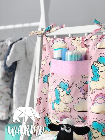 органайзер на дитяче ліжечко з рожевими єдинорогами фото