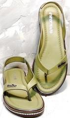 Модные сандали босоножки между пальцев Evromoda 454-411 Olive.