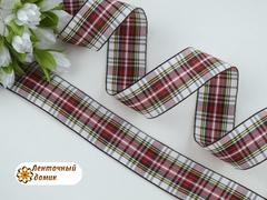 Лента текстильная бело-красная шотландка ширина 25 мм