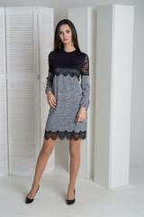 Агата. Оригинальное молодежное комбинированное платье. Меланж