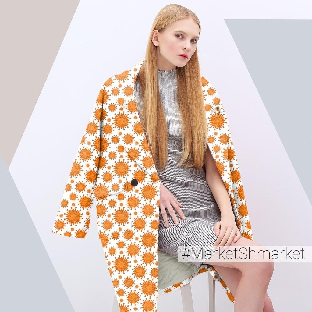 Коронавирус - оранжевые молекулы на белом фоне