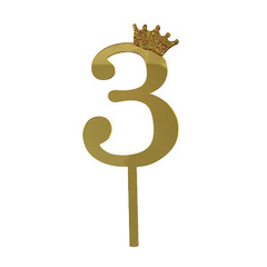 Y Топпер цифра 3 Корона GOLD 18см, 1шт.
