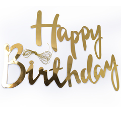 Гирлянда, Happy Birthday (курсив), Золото, Металлик, 200 см, 1 шт.