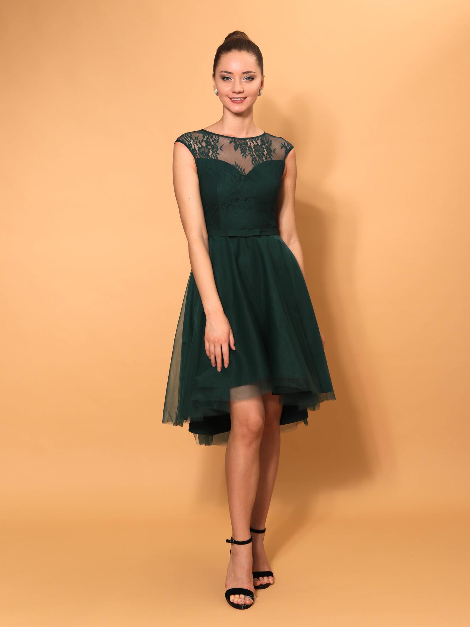 Нарядное платье с ассиметричной юбкой (зеленый)