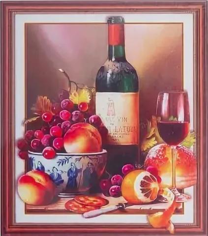 Алмазная Мозаика 5D 40x50 Фруктовый натюрморт и вино (арт. HZ8052)