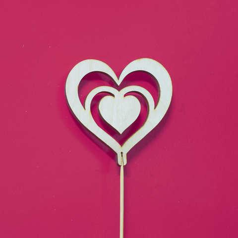 Топпер ДекорКоми из дерева Сердца