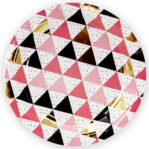 Тарелки 23 см., Геометрия треугольников, Розовый, 6 шт.