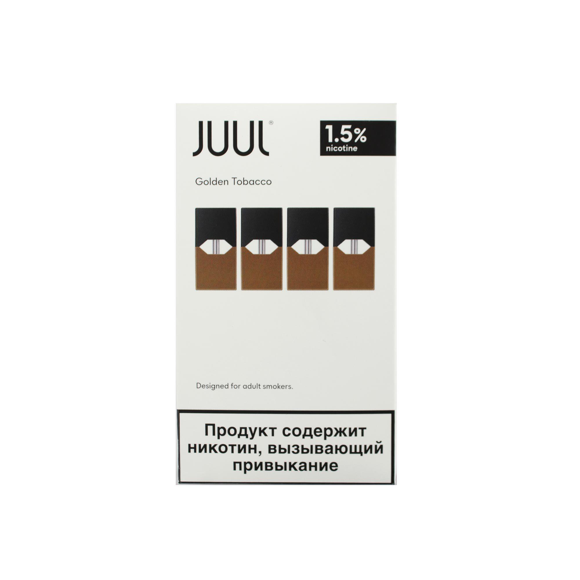 Сменный Картридж для JUUL. ДЖУЛ Golden Tobacco х4, 0,7 мл 15 мг
