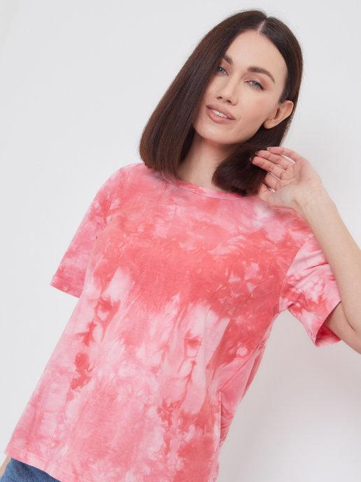 Женская футболка Brandmania в модной расцветке тай-дай
